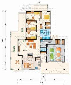 Rzut parteru Interior Decorating, Interior Ideas, Planer, Bungalow, House Plans, Floor Plans, Cottage, Vacation, How To Plan
