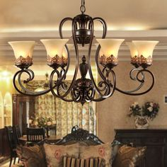 Find More Chandeliers Information about antique black wrought iron chandelier rustic Arts & Crafts Bronze Chandelier with 8 Lights Cream shade,High Quality craft owl,China craft drawing Suppliers, Cheap craft wax from Hope lighting factory on Aliexpress.com