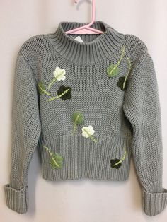 NWT Gymboree Sweater 3-4 Yrs Floral Gray Mock Turtle Ribbed Girls Appliqué Beads #Gymboree #Pullover #Everyday