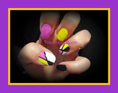 funky, natural nails, freehand nailart, black, yellow, pink, white, gel polish manicure,