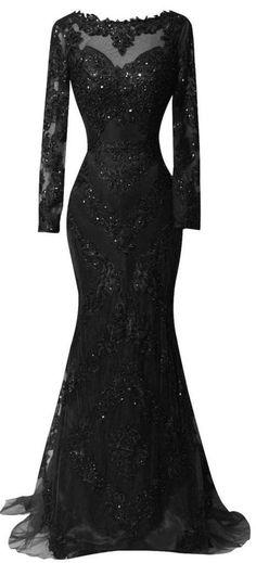 Sexy Black Prom Dresses,2016 Custom Long Sleeves Prom Dress,Charming Beading Evening dress,Lace Mermaid Prom Dress