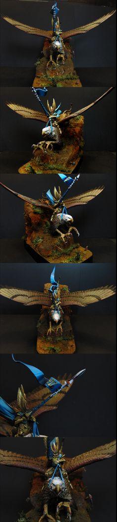 High Elf Prince Althran on Griffin by ruben2navega