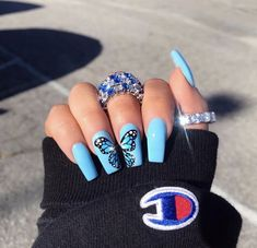 Shared by ♔Coco♔. Find images and videos about blue, nails and ring on We Heart It - the app to get lost in what you love. Shared by ♔Coco♔. Find images and videos about blue, nails and ring on We Heart It - the app to get lost in what you love. Blue Acrylic Nails, Acrylic Nail Designs, Holographic Nails Acrylic, Acrylic Spring Nails, Nail Art Blue, Painted Acrylic Nails, Blue Coffin Nails, Blue Nail Designs, Clear Acrylic