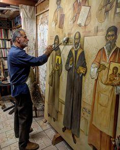 Byzantine Icons, Byzantine Art, Christian Images, Christian Art, Religious Icons, Religious Art, Painters Studio, What Is An Artist, Catholic Art