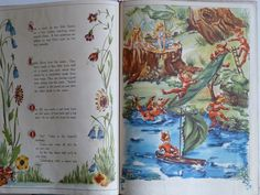 A Day In Fairy Land Giant Story & Picture Vintage Story and Picture Book Elves At Play, Queen Birthday, Elves And Fairies, Fairy Queen, Watercolor Pictures, Fairy Land, The Elf, Fantasy World, Vintage Books