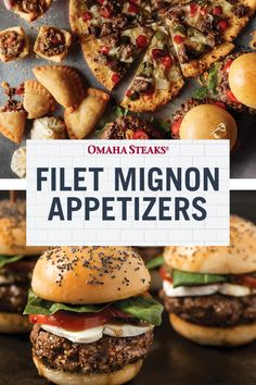 Make your next dinner party extraordinary with decadent filet mignon appetizers featuring our aged, tender, juicy, mild flavored filet mignon steak. Steak Appetizers, Yummy Appetizers, Appetizer Recipes, Filet Mignon Steak, Quick Weeknight Meals, Easy Meals, Omaha Steaks, Cheeseburger Recipe, How To Cook Steak