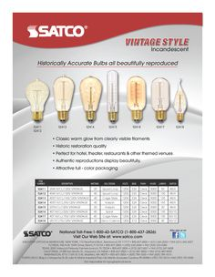 VINTAGE LIGHT BULBS FROM @SATCO PRODUCTS Vintage Light Bulbs, Vintage Lighting, Electrical Tools, Wall Colors, Color Change, Lamps, Glow, Vintage Fashion, Products