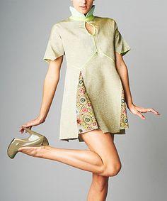 Look what I found on #zulily! Sage & Aqua Floral Silk-Blend Cutout Tunic by Nuvula #zulilyfinds