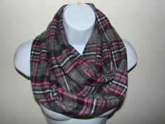 Hey, I found this really awesome Etsy listing at https://www.etsy.com/listing/162875667/plaid-infinity-scarf-pink-cream-gray