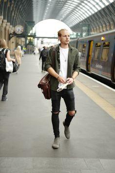 Men's Fashion Street Style London Black ripped jeans, green shirt, Barbour, gstar, ASOS, Daniel Wellington.