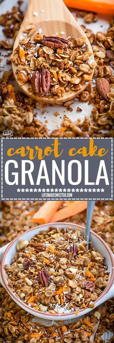 Carrot Cake Granola is the perfect easy grab and go snack full of large crunchy clusters and delicious pecan nuts in every bite. Best of all, so quick to make and tastes like your favorite dessert. Great grab & go snack for work or lunch! Gluten free & refined sugar free.