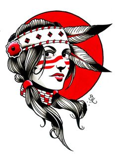 Indian Girl by Brian Kelly Native American Girl Canvas Fine Art Print – moodswingsonthenet