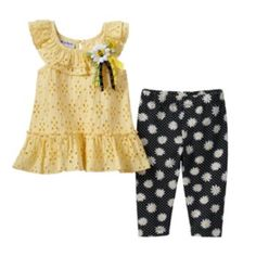 Blueberi Boulevard Eyelet Tunic & Daisy Capri Leggings Set - Baby Girl