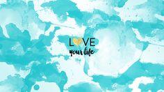 Watercolour Turquoise blue aqua mini gold heart Love Life desktop wallpaper background