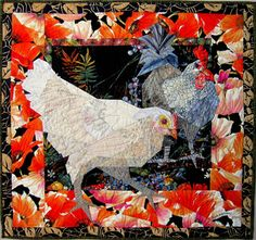 "Del Thomas owner of Ruth McDowell's Chickens in the Poppy Patch 25.5"" x 27"" 65 cm x 69 cm   ©2012     Machine Pieced, Machine Quilted, Cotton Fabrics, Cotton Batting"