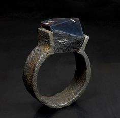 """Pawel Kaczynski Bracelet: Rescale, 2014 Natural """"blue"""" amber, steel ( crafted form and structure of steel ) Bracelet prepared for International Goldsmiths Craft Competition """"CLASSIC"""" - Gallery of Art in Legnica -2014"""