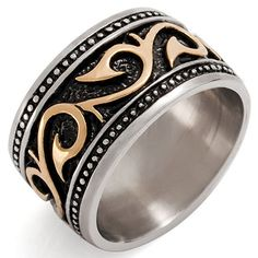 Men's Stainless Steel Ring Band Silver Tone Black Gold Tone Embossed Size7