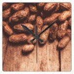 Pile of peanuts covering top half of board square wall clock  #Board #Clock #covering #half #peanuts #Pile #RusticClock #Square #Wall The Rustic Clock