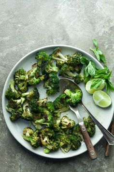 Grilled basil-lime broccoli, via Gourmande in the Kitchen