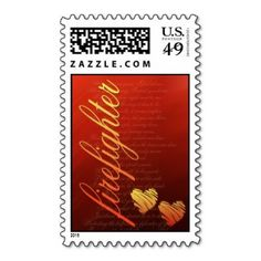 We can create any theme postage stamp that you need - love this firefighter wedding stamp! ♥  Repinned by Annie @ www.perfectpostage.com