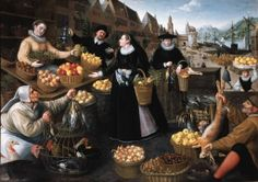 LUCAS VAN VALKENBORCH (1535-1597) AND GEORG FLEGEL (1563-1638) AN ALLEGORY OF AUTUMN: A FRUIT AND VEGETABLE STALL ABOVE THE WEINMARKT IN FRANKFURT AM MAIN  a snub nose on the buyers and the pot lid on the maid?  (Hat only)