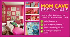 I love the idea of a Mom Cave....This would be my craft room.  Would love to paint and decorate it, too.