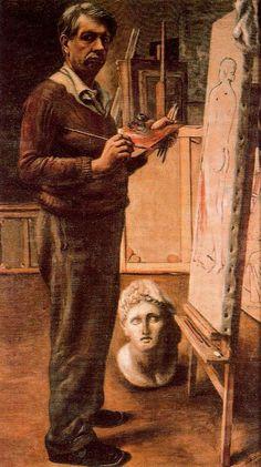 Autorretrato en el estudio de París. Óleo sobre tela. 130 x 76 cm., Roma,Galleria Nazionale d´Arte Moderna, 1925