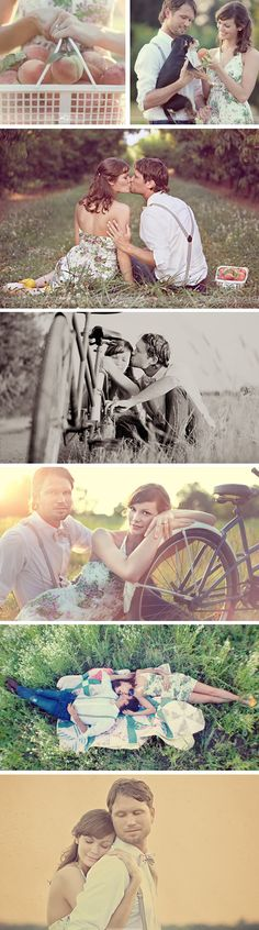 Vintage Engagement Photoshoot except in an apple orchard! Deaville love the bike poses Vintage Engagement Photos, Vintage Couples, Engagement Couple, Engagement Pictures, Engagement Shoots, Wedding Pictures, Couple Photography, Engagement Photography, Wedding Photography