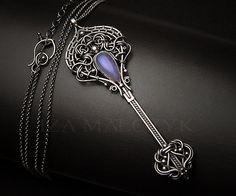 Lavender Blue unique handcrafted key pendant necklace by Iza Malczyk