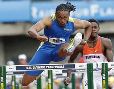 Aries Merritt set personal record and wins the men's 110 meter hurdles at the U.S. Olympic Track and Field Trials Saturday, June 30, 2012, in Eugene, Ore.  He will lead the US 110 meter team to 2012 London Olympics where is he is the favorite for the GOLD. (photo, AP Photo/Eric Gay) #Team USA #USA Men Track & Field