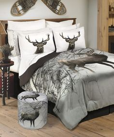 Another great find on #zulily! Deer in Snowy Forest Wildlife Comforter Set #zulilyfinds