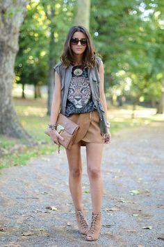 Emporio Armani Sunglasses, Amichi Vest, Zara T Shirt, Bershka Skirt, Zara Wedges, Su Shi Clutch, Zara Necklace