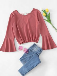 ROMWE offers Ring Detail Fluted Sleeve Blouse & more to fit your fashionable needs. Cute Casual Outfits, Girly Outfits, Teenager Outfits, Outfits For Teens, Summer Outfits, Kpop Fashion Outfits, Girls Fashion Clothes, Girl Fashion, Fashion Dresses