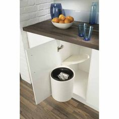 Plastic Waste Bin White 27310 For hinged door cabinets. Lid stays inside cabinet when door is open. Metal Storage Cabinets, Storage Bins, Storage Solutions, Plastic Bins, Plastic Waste, Inside Cabinets, Sink Units, Easy Install, Stainless Steel Case