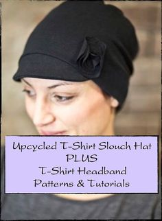 PDF Sewing Pattern for Upcycled/Recycled/Repurposed T-Shirt Slouch Hat (Bonus T-Shirt Headband) Instant Download