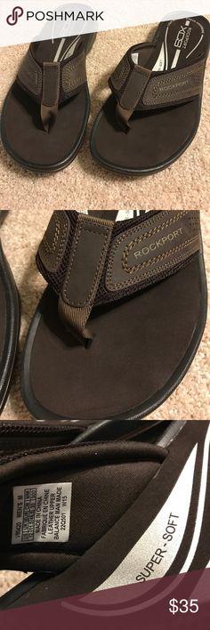 Rockport Men's Flip Flop Sandals 12 Rockport CCS Lightweight Shock Absorbing Foam Footpad. Brown. Leather upper. Manmade sole. Size 12M Rockport Shoes Sandals & Flip-Flops