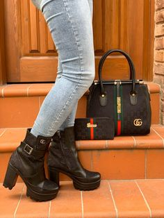 """Luxury Gucci """"On My Worst Behavior"""" Platform Ankle Boot + Gorgeous Handbag + Wallet Set Lv Heels, Chanel Heels, Versace Boots, Gucci Boots, Lv Sneakers, Sneakers Fashion, Lv Boots, Gucci Handbags Outlet, Platform Ankle Boots"""