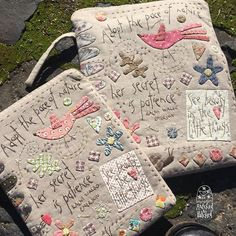 Here is my new designs called 'Natures Pace iPad Covers'. There is one for a normal sized iPad and one Wool Applique, Applique Quilts, Embroidery Applique, Cross Stitch Embroidery, Embroidery Patterns, Anni Downs, Sewing Crafts, Sewing Projects, Fabric Book Covers
