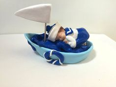 Figure baby sailor, boat, fimo, fact hand/customizable/cake topper/decoration of table/baptism/baby shower decoration/gift birth