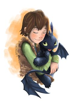 Cuddles by ArtPhish < Hiccup with a tiny Toothless. :)