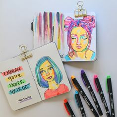 easy drawings highlighter marker aesthetic neon colour draw step studiokatie which