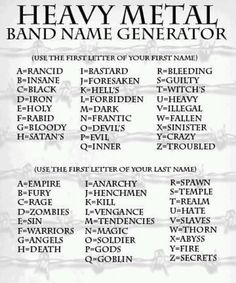 music band name logos | Heavy Metal Band Name Generator - The Daily Rock