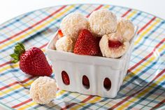 Kiss your hot kitchen goodbye with these no bake, gluten free, and low in sugar Strawberry Beijinhos de Coco. A delicious Brazilian treat.