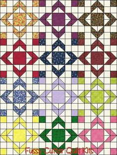 Scrappy Calico Blenders Floral Fabric Aunt Sulkey's Choice Pattern Fast Easy Pre-Cut Quilt Blocks Top Kit