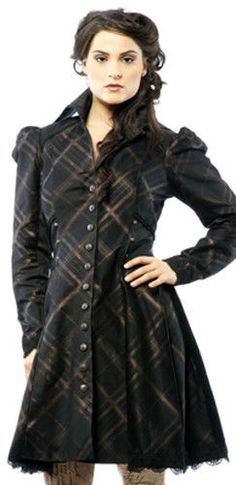 *Lip Service Black/Copper Plaid Victorian Steampunk Westing Manor Knee Coat XS #LipService #Coat