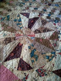 Gawthorpe Textiles Collection Detail Windmill quilt c1840.