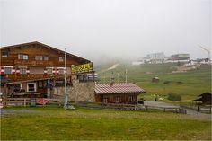 Visiting Almhütte Cervosa Alm - belonging to Hotel Cervosa in Serfaus - Rainy day in the alps - at Serfaus-Fiss-Ladis Region in Austria / Österreich - Tyrol / Tirol