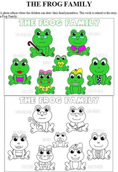 "The Frog Family (in color and black and white) -- to use as props for the song. Laminate and either staple to popsicle sticks or tape a paper/cardboard circle to the back of each frog to make a finger puppet.   http://www.youtube.com/watch?v=mjFcrv6Lfx8  Here is a link to a very simple Family Song that I use with my children, can be sung to either ""Daddy finger..."" or ""Daddy frog..."""