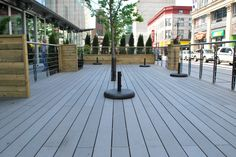 BamDeck- Bamboo composite slate color installed as a terrasse for restaurant Bistro Accords in Montréal.