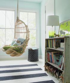 Pale blue bedroom with wicker swing, striped rug. cute for boy's room Pale Blue Bedrooms, White Bedroom, Teen Bedroom, Bedroom Ideas, Interior Exterior, Interior Design, Wicker Swing, Indoor Swing, New Room